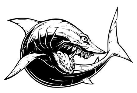 Drawing anger shark with sharp teeth Ilustracja