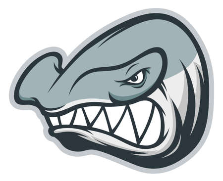 Anger hammerhead shark mascot with sharp teeth