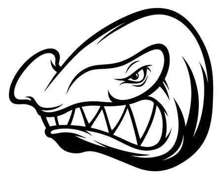 Black and white anger hammerhead shark mascot with sharp teeth