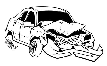 Car after accident illustration. Broken car Ilustracja