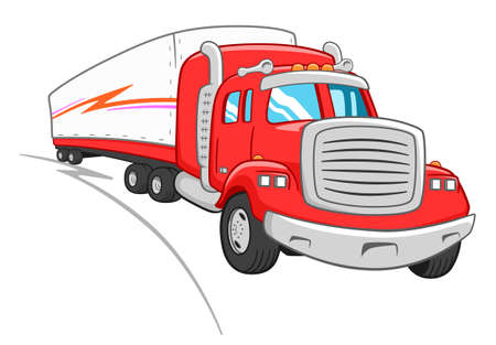 Cartoon cute lorry with semitrailer