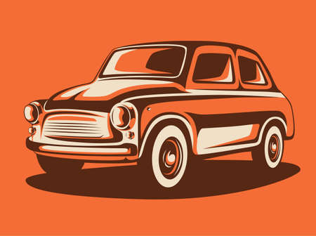 Classic retro car colored art. Car industry illustration. Stock Illustratie
