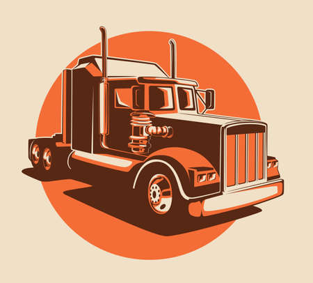 Classic lorry colored art. Truck industry illustration.