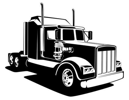 Classic lorry black and white art. Truck industry illustration.