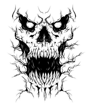 Crack skull monster face with open mouth