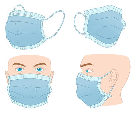 Set of four illustration on the medical mask theme