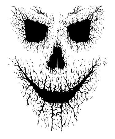 Smiling crack skull silhouette face isolated on white background Ilustracja