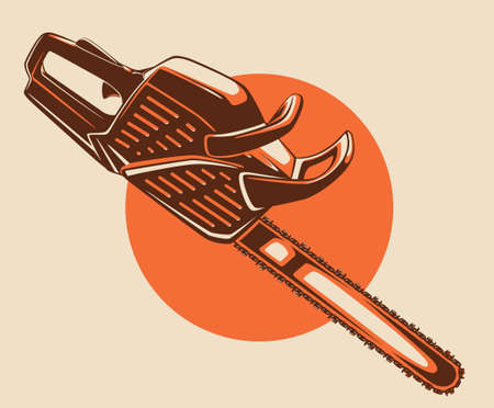 Chainsaw colored vector illustration viewed from side at angle and circle on background