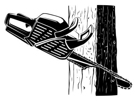 Chainsaw in a tree black and white vector illustration viewed from side at angle Stock Illustratie