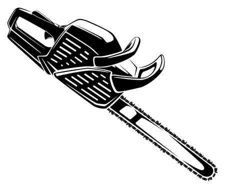 Chainsaw black and white illustration viewed from side at angle