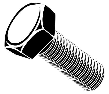 Hex bolt vector illustration viewed from side at angle isolated on white background 벡터 (일러스트)