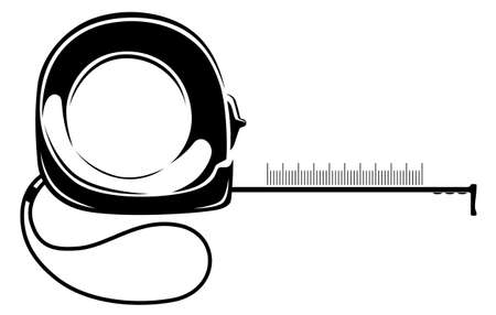 Measuring tape black and white illustration. Work equipment. Stock Illustratie