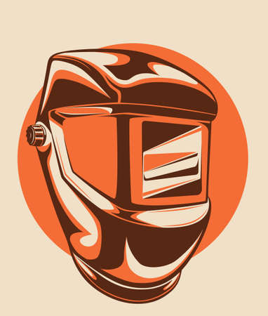 Welding helmet colored illustration. Individual protection work equipment. Ilustracja