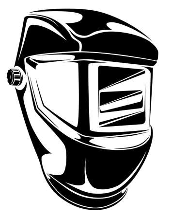 Welding helmet black and white illustration. Individual protection work equipment.