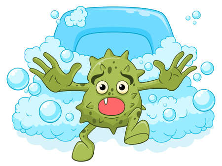 Cartoon funny scared microbe runaway from soap