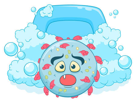 Cartoon funny scared virus runaway from soap