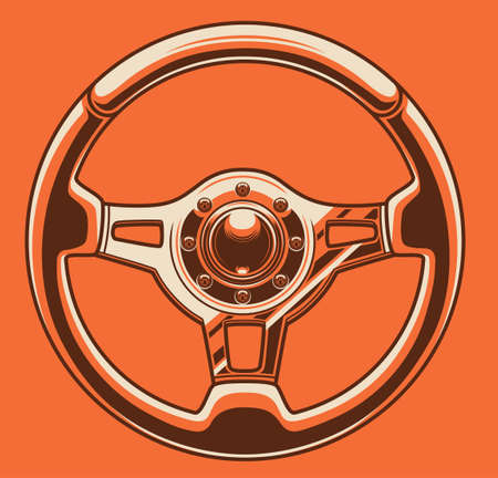 Sport car steering wheel color art Ilustracja
