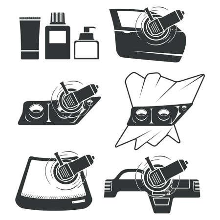 Set of six icons for car polishing theme