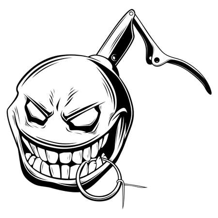 Hand grenade smiling with safety pin in teeth black and white illustration