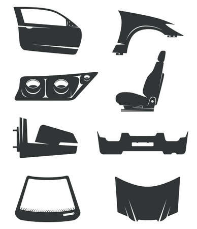 Set of eight icons for automobile body parts theme