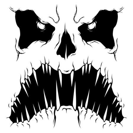 Monochrome monster face with open mouth Ilustracja