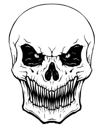 Black and white skull with sharp teeth