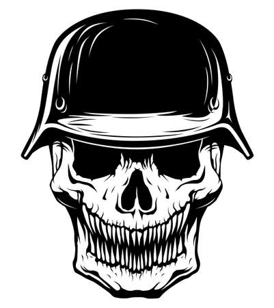 Black and white skull with military helmet