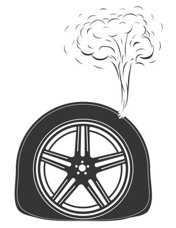 Monochrome tire puncture illustration. Flat tire illustration