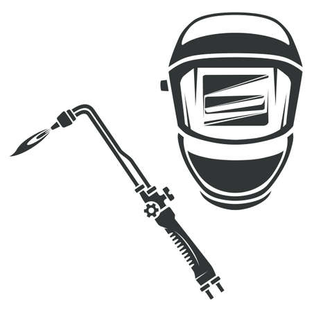Gas cutter and welding helmet monochrome illustration