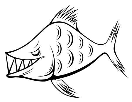 Black and white smiling monster fish illustration