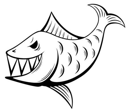 Black and white smiling anger fish illustration