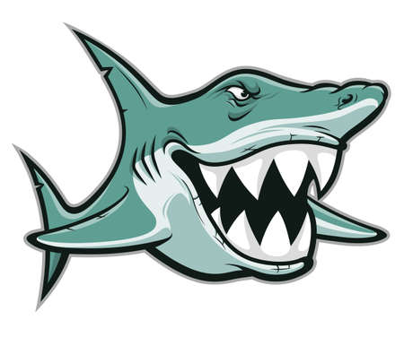 Cartoon funny smiling shark isolated on white background Ilustracja