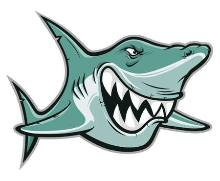 Cartoon funny angry shark isolated on white background Ilustracja