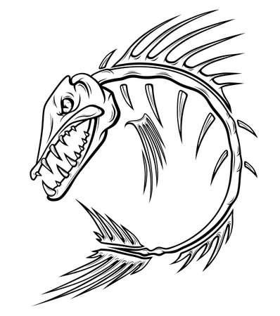 Anger fish black and white stylized skeleton isolated on white background