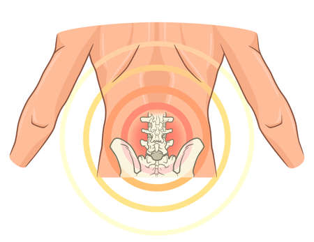 Small of the back joint pain. Medical vector illustration
