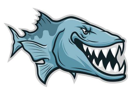Cartoon funny smiling stylized barracuda isolated on white background