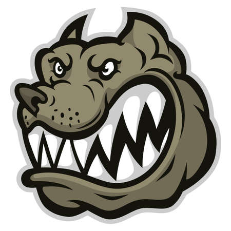 Stylized mad dog head illustration isolated on white background