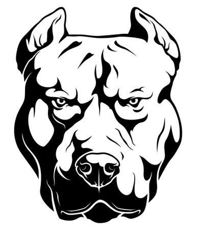 Dangerous stylized pitbull terrier illustration isolated on white background 矢量图像