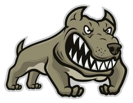 Stylized mad dog illustration isolated on white background