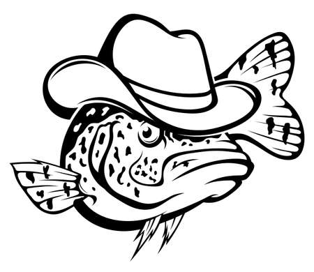 Drawing black crappie fish with hat. Freshwater fish black and white illustration.