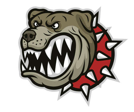 Stylized angry bulldog head with spiked collar illustration isolated on white background