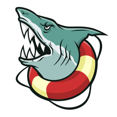 Cartoon scary shark in a lifebuoy isolated on white background 矢量图像