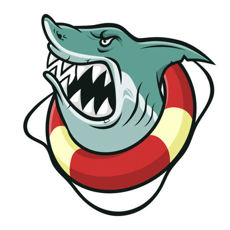 Cartoon angry shark in a lifebuoy isolated on white background