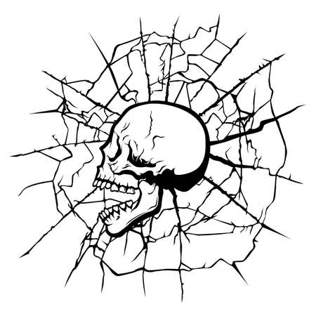 Black and white human stylized skull in the old web Illustration