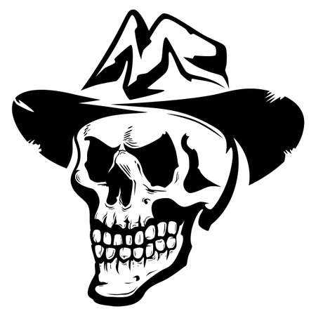 Black and white angry skull in hat