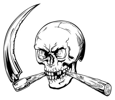 Black and white human stylized skull bites scythe. Symbol of death