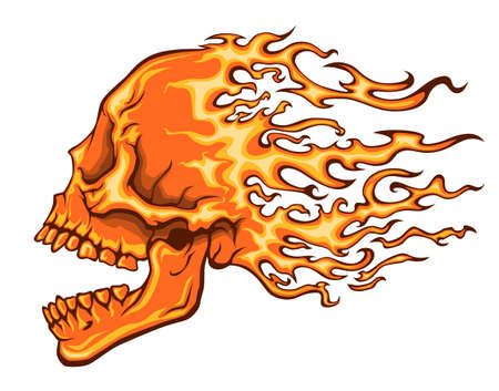 Burning skull with open mouth and flame hair