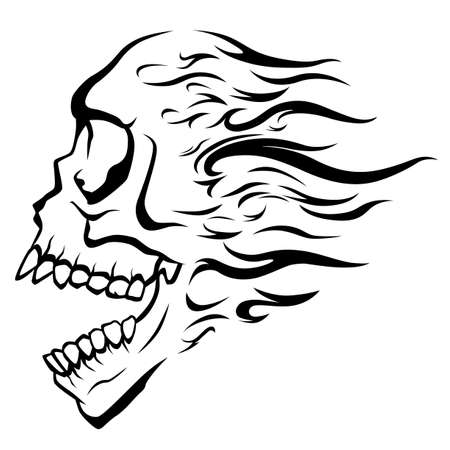Black and white skull with open mouth and flame hair