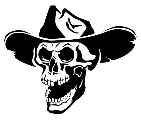 Black and white angry stylized skull in hat with open mouth
