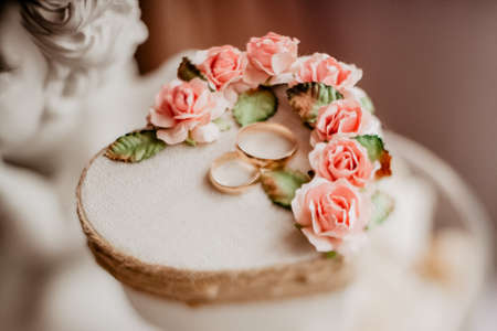 wedding rings, wedding rings and bouquet in one composition, ring box, wedding day, close-up